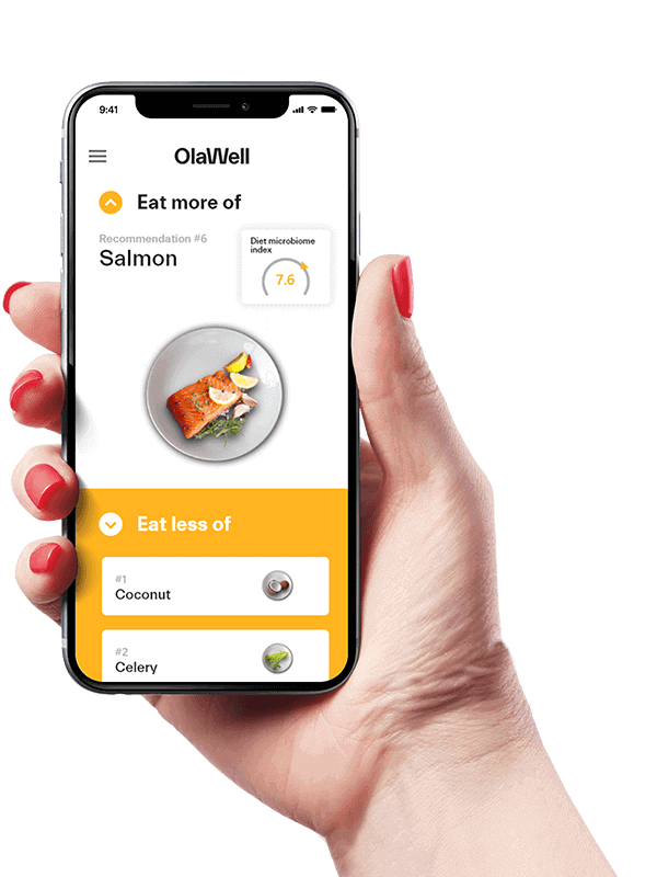 OlaWell Microbiome test results on your mobile device